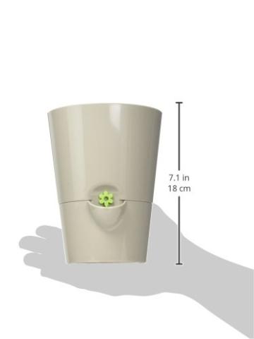 Emsa Kräutertopf für frische Kräuter, Selbstbewässerung, Wasserstandsanzeiger, Ø 13 cm, Seidengrau, Fresh Herbs, 517532 - 6